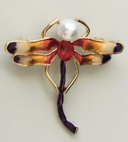 Unique vintage style   Dragonfly brooch enamel on metal