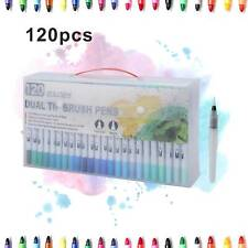 120 Colours Watercolour Brush Pens Set Dual Tips Art Markers For Kids Adults