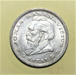 Lithuania 5 Litai 1936 Brilliant Uncirculated Silver Coin Dr. Jonas Basanavicius