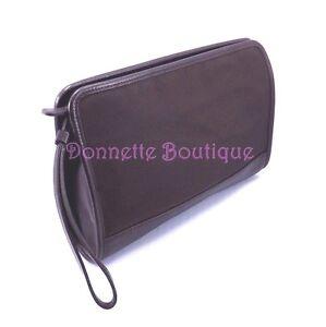 Coach Ballistic Nylon & Leather Dark Brown Large Clutch W/Detachable Strap NWOT