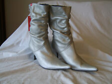 Womens/ladies Miss Sixty size 6 (39) silver leather mid calf boots GC!