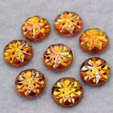 20 x  AB Amber Yellow Acrylic Flat Back Rhinestones Round Embelishment Craft