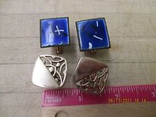 Mens Vintage Copper Enamal  Abstract Cuff Links + gold tone set