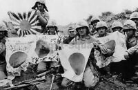 WW2 Picture Photo USMC 5th Div. Marines w Captured Japanese Flags Iwo Jima 1538