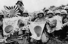 WW2 Picture Photo USMC 5th Div. Marines w Captured Japanese Flags Iwo Jima 1538