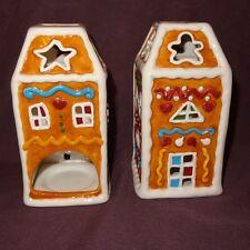 Pair Gingerbread House Tea Light Candle Holder Christmas Holiday Ganz Tealight