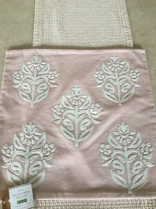Pottery Barn Kyla Embroidered 18 x 18 Pillow Cover Gorgeous! Pink