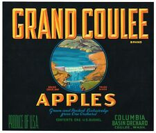 ORIGINAL 1930S APPLE CRATE LABEL COULEE WASHINGTON VINTAGE DAM COLUMBIA BASIN