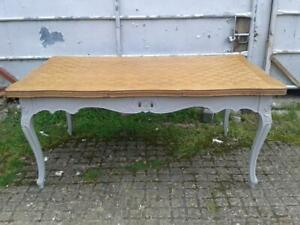 Vintage French Oak & Painted Extending Versailles Table with Chequered Top