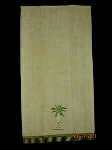 BY AVANTI 1 HAND TOWEL 16X30''EMBROIDERED PALM BEIGE GOLD RED STRIPED BORDER