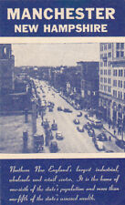 Vintage Poster Stamp Label  MANCHESTER NH street scene facts  #IM