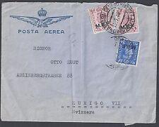 UK GB 1944 MEF ASMARA ERITREA COVER DATED 13 3 48 ON POSTA AEREA COVER TO SWITZE
