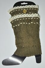 Leg Warmer Boot Topper Crochet Lace Trim Olive Drab 1 Pair Soft Adult Size New!!