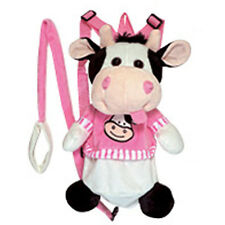 """Backpack 14"""" Harness Leash 3-in-1 Plush Cow Pink White Black New"""