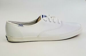 Keds Womens Champion Leather Low Top Lace Up Fashion, White Leather, Size 9.5
