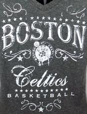 Boston Celtics Shirt Women's Small Gray V-Neck T-Shirt NBA ST56