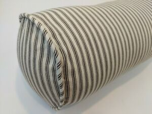 "Pottery Barn 30"" Bolster Pillow TICKING STRIPE Black Ivory Cotton Farmhouse"