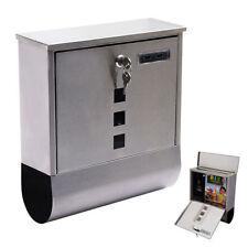 Wall Mount Mail Box Steel w/ Retrieval Door & 2 Keys + Newspaper Roll Mailbox ++