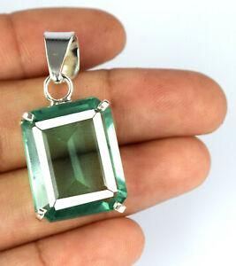 Green Topaz 31.10 Ct 925 Sterling Silver Pendant Emerald Cut AGI Certified N2315