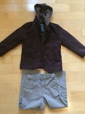 2pc Set Boys Kenneth Cole Reaction Sueded Brown Hoodie Jacket/Grey Pants Size 6