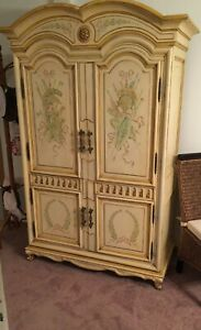 Karges Armoire Ornate Design, Pale Yellow w Upper, Lower, 3 Drawers Moving Sale