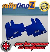 Rally style Mudflaps PEUGEOT 206 GTi Mud Flaps (3mm PVC) Qty4 Blue Logo Silver
