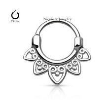 16g 316L Surgical Steel Septum Hinged Clicker Nose Ring Body Piercing E93