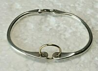 "Vtg solid sterling silver Curved Fitted bangle 2.25 in. "" bracelet 925 hinged"