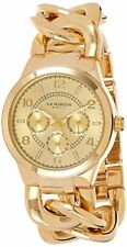 Akribos XXIV AK531YG Gold Tone Quartz Triple Function Ladies Bracelet Watch NWT