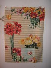 "Lee Jofa ""Full Bloom"" floral stripe fabric remnant,  color tan"