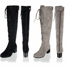 3803284999c New Womens Ladies Knee High Lace Up Suede Wide Calf Mid Block Heel Boots  Size