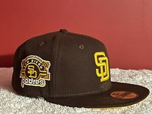 New Era San Diego Padres Fitted Hat Stadium Patch Size 7 3/8 W/ Surprise Gift