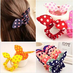 10pcs Women Girls Hair Ties Ponytail Holder Elastic Rabbit ear Hair Bands Mix