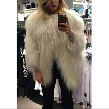 H&M Studio White Fur Coat Cape Coat XS