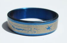 Blue Dragon  Stainless Steel Ring - Size 10.5  (20.2mm)