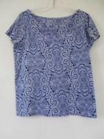 Rafaella Women's Size Large 100% Cotton Blue Paisley Short Sleeve Blouse Shirt