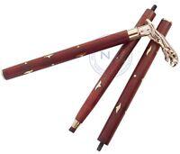 Victorian Cane JAGUAR Brass Handle Vintage Designer Antique Wooden Walking Stick