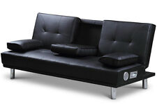 Modern 2 / 3 Seater Sofa Bed Bluetooth Speakers Black / Red / White Faux Leather