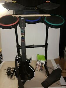 Xbox 360 Guitar Hero Bundle WITH 7 GAMES/ guitar/ wireless drums