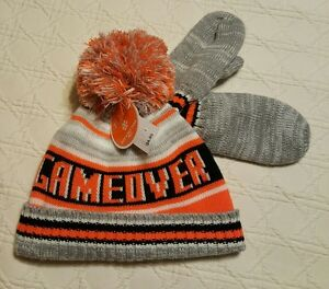 NWT Game Over Lined Knit Hat and Mittens Size S 12/24 Mths The Children's Place