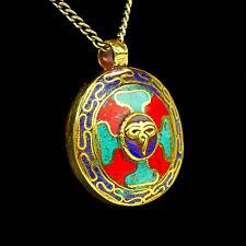 AMULETO COLGANTE MUJER HOMBRE DE COLORES Rojo Oro Azul Turquesa Joya Budismo