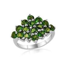 2.24ct Russian Chrome Diopside Cluster Ring in 925 Sterling Silver - UK Size I