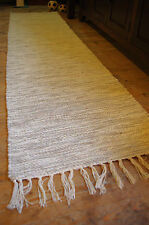 COTTON RUNNER RUG IN CREAM & SOFT GREY SHADES 60 cm x 245 cm SHABBY RUSTIC CHIC