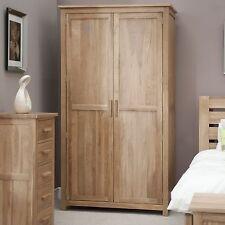Eton solid oak modern furniture full hanging double bedroom wardrobe