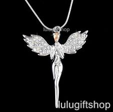 18K WHITE GOLD PLATED PRAY GUARDIAN ANGEL PENDANT NECKLACE USE SWAROVSKI CRYSTAL