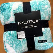 Nautica TURQUOISE AQUA Blue Plush QUEEN BED BLANKET Fleece BEACH Coastal Coral