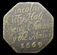 More details for 1669 lincoln city copper halfpenny token - w138