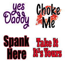 4pc Sexy Temporary Tattoos Yes Daddy Choke Me Spank Here Kinky Sh.. Dom S&M Hot