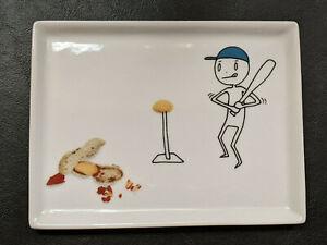 Crate & Barrel CB2 Oliver Appetizer Plate - Baseball Batting Practice - 2012