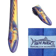 Ralph Marlin Tie Fish VINTAGE RARE 1986 Original Necktie Funny Blue Yellow